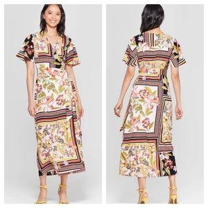 Who What Wear Scarf Print Wrap V-Neck Maxi Dress M